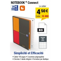CAHIER OXFRD NOTEBOOK CONNECT FORMAT B5 160P 90G PETITS CARREAUX 5x5
