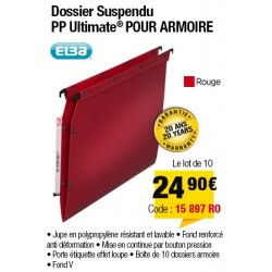 DOSSIERS ARMOIRE POLYPRO ULTIMATE FOND V ROUGE x10