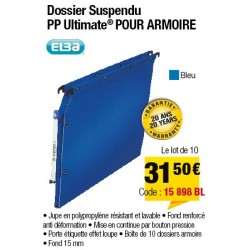 DOSSIERS ARMOIRE POLYPRO ULTIMATE FOND 15 BLEU x10