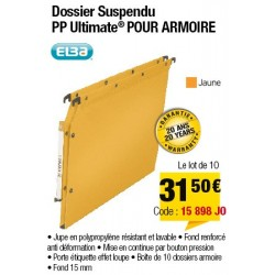 DOSSIERS ARMOIRE POLYPRO ULTIMATE FOND 15 JAUNE x10
