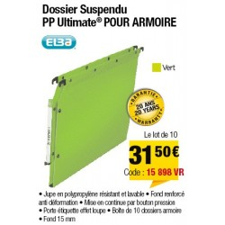 DOSSIERS ARMOIRE POLYPRO ULTIMATE FOND 15 VERT x10