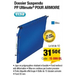 DOSSIERS ARMOIRE POLYPRO ULTIMATE FOND 30 BLEU x10