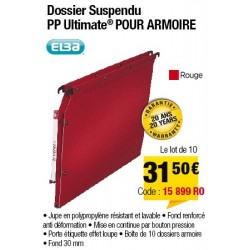 DOSSIERS ARMOIRE POLYPRO ULTIMATE FOND 30 ROUGE x10