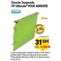 DOSSIERS ARMOIRE POLYPRO ULTIMATE FOND 30 VERT x10