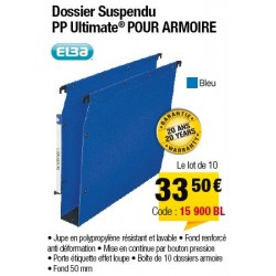 DOSSIERS ARMOIRE POLYPRO ULTIMATE FOND 50 BLEU x10