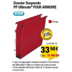 DOSSIERS ARMOIRE POLYPRO ULTIMATE FOND 50 ROUGE x10