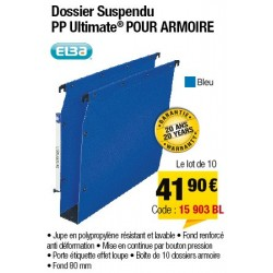 DOSSIERS ARMOIRE POLYPRO ULTIMATE FOND 80 BLEU x10