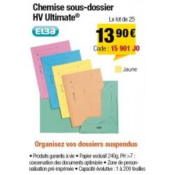 CHEMISES SOUS-DOSSIERS HV JAUNE x25