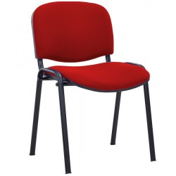 CHAISE 4 PIEDS ASSISE ET DOSSIER TISSU ROUGE EMPILABLE