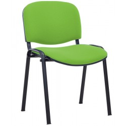 CHAISE 4 PIEDS ASSISE ET DOSSIER TISSU VERT EMPILABLE