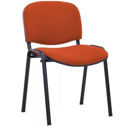 CHAISE 4 PIEDS ASSISE ET DOSSIER TISSU ORANGE EMPILABLE