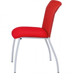 CHAISE ASSISE TISSU ROUGE DOS FILET ROUGE