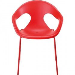 FAUTEUIL POLYPRO ROUGE EMPILABLE PIETEMENT TUBE