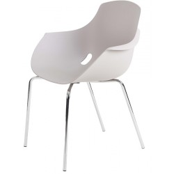 CHAISE COQUIE POLYPRO BLANCHE EMPILABLE PIETEMENT CHROME