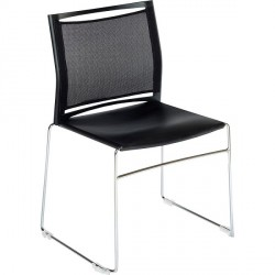 CHAISE ASSISE POLYPRO DOSSIER FILET NOIR EMPILABLE ACCROCHABLE