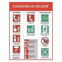 PANNEAU CONSIGNES DE SÉCURITÉ BLANC ROUGE EN PVC 30X40X0.2CM