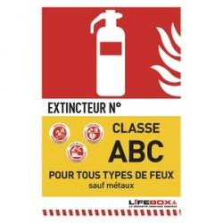 PANNEAU DE SIGNALISATION CLASSE FEU ABC PRESENCE EXTINCTEUR À POUDRE