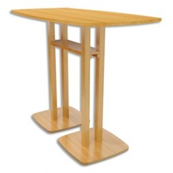 TABLE HAUTE WOODY 4 PERSONNES MDF REPLAQUÉ HÊTRE L114XH110XP75CM