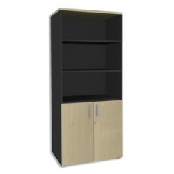 BIBLIOTHEQUE 2 PORTES BASSES STEELY ERABLE CARBONE L80XH180XP47CM
