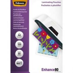 FELLOWES PACK DE 100 POCHETTES PLASTIQUES A4 80 MICRONS MAT