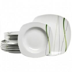 LOT DE 6 SERVICES DE TABLES : 6 ASSIETTES PLATES ET 6 ASSIETTES À SOUPE EN PORCELAINE MOTIF VERT/NOIR