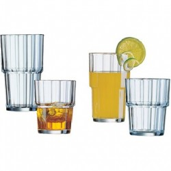 LOT DE 6 VERRES À JUS DE FRUIT EN VERRE 32CL