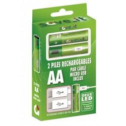 PACK DE 2 PILES RECHARGEABLES LR06 AA +CORDON MICRO USB