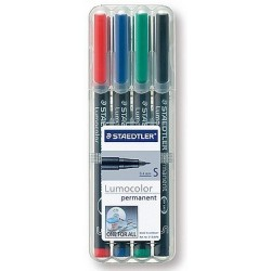 STAEDTLER BOX 4 FEUTRES LUMOCOLOR PERMANENT SUPERFIN ASSORTIS