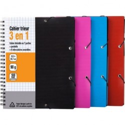 CAHIER TRIEUR A4+ 180 PAGES 90 G COUV. PP RECYCLE SEYES ASS. 40350