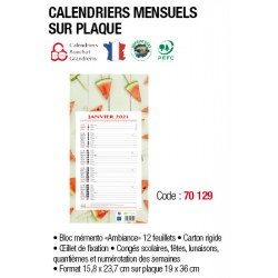 CALENDRIER MENSUEL LONG PLAQUE 190x360 AMBIANCE