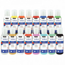 GOUACHE BRILLANTE CARTON DE 16 FLACONS DE 150ML BRILLO COULEURS ASSORTIES