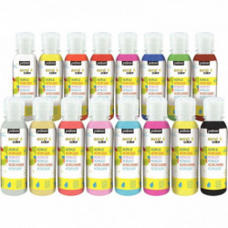 PEINTURE ACRYLIQUE LOT DE 16 FLACONS 150ML ASSORTIS ACRYLCOLOR