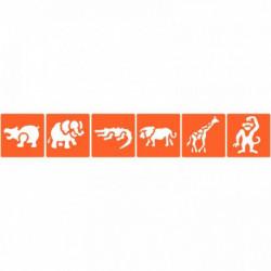 POCHOIRS PLASTIQUE ANIMAUX SAUVAGES LOT DE 6