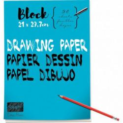 BLOC DE 40 PAGES DE PAPIER DESSIN BLANC 120 G FORMAT 21X29,7 CM