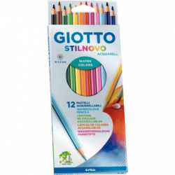 CRAYONS DE COULEUR STILNOVO AQUARELLABLES *ETUI DE 12* ASSORTIS