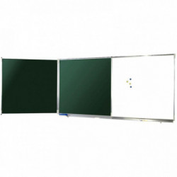 TRIPTYQUE NF EMAILLE BLANC/VERT 100x400CM OUVERT POLYVISI