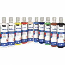 ASSORTIMENT DE 10 FLACONS DE 500 ML DE GOUACHE BRILLANTE BRILLO (9 + 1 FLACON OF