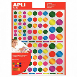 POCH 6 PLANCHES GOMETTES MULTICOLORES METALISEES RONDES APLI 013529
