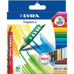 CRAYONS DE COULEUR LYRA TRIPLE ONE ETUI DE 12