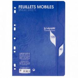SACHET DE 50 FEUILLETS MOBILES (100 PAGES) FORMAT 21X29,7 CM SÉYÈS 80G BLANC