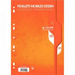 SACHET 50 FEUILLETS MOBILES DESSIN (100 PAGES) FORMAT 21X29,7 CM 120G UNI BLANC