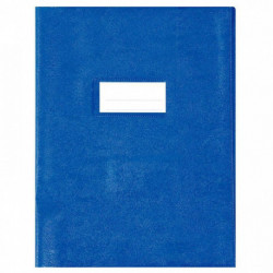 PROTÈGES-CAHIER LUXE OPAQUE RABATS 22/100ÈME 17X22CM PVC CRISTAL LOT DE 10 BLEU