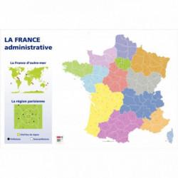 CARTE DE FRANCE ADMINISTRATIVE FORMAT 1,20 X 0,80 MÈTRE
