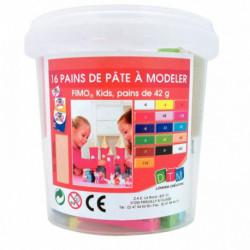 ATELIER FIMO KIDS, 16 PAINS DE 42 GRAMMES DE PÂTE À MODELER