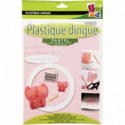 POCHETTE DE 5 FEUILLES DE PLASTIQUE FOU, COLORIS PASTEL, FORMAT L 26 X L 20 CM