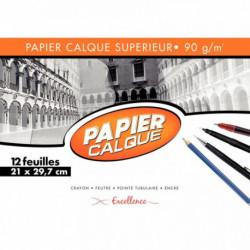 POCHETTE DE 12 FEUILLES PAPIER CALQUE UNI, 90 G 21X29,7 CM EXCELLENCE