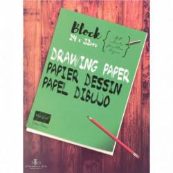 BLOC DE 40 PAGES DE PAPIER DESSIN BLANC 160 G FORMAT 24X32 CM