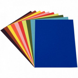 PAPIER DESSIN COULEUR 50X65CM 160G PAQUET DE 24 F. COULEURS VIVES ASSORTIES