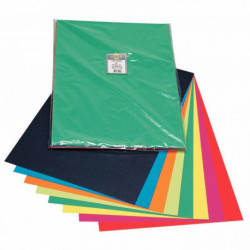 FEUILLES CARTADOR 50X32.5CM 270G PAQUET DE 40 - 8 COULEURS ASSORTIES
