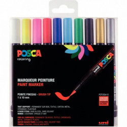 BOITE DE 10 POSCA BRUSH ASSORTIS